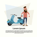 Tillfällig sparkcykel för elkraft för mancyklistmotorcykel royaltyfri illustrationer