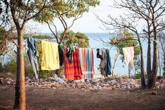 Tillfällig tvättande linje i vildmark Australien royaltyfria bilder