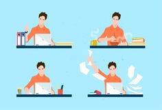 Tillfällig uppsättning för för arbetsdag för Freelancer för affärsman rutin stock illustrationer