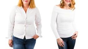 Tillfällig viktförlust för kvinna som före och efter isoleras på vit royaltyfri bild