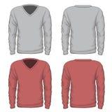 Tillfälliga mäns vektor för v-hals tröja royaltyfri illustrationer