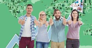 Tillfälligt affärsfolk som gör en gest tummar upp mot graf royaltyfri illustrationer