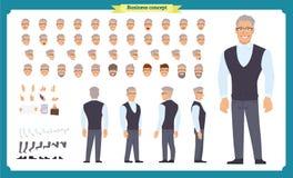 Tillfälligt mode för affär Framdelen sidan, baksidasikt animerade teckenet Chefteckenkonstruktör med olika sikter, frisyrer vektor illustrationer