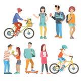 Tillfälligt stads- folk för vektor för lägenhet för student för ungdomarcykel stock illustrationer