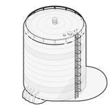 Tillförsel för översiktsvattenbehållare Diagram för information om byggnad för vattenbehållare isometriskt Arkivfoton