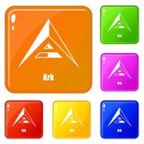 Tillflyktsymboler ställde in vektorfärg royaltyfri illustrationer