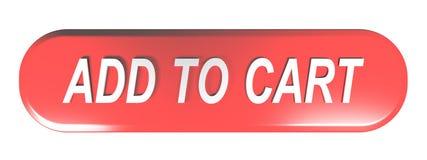 TILLFOGA för ATT CART den röda knappen för den rundade rektangeln - tolkningen 3D Royaltyfri Illustrationer