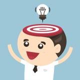 Tillfoga idén till hjärnan, kulaattackpil stock illustrationer