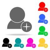 tillfoga kontaktsymboler Beståndsdelar av kulöra symboler för mänsklig rengöringsduk Högvärdig kvalitets- symbol för grafisk desi royaltyfri illustrationer