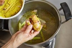 Tillfoga kryddor och örter Arkivfoto