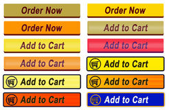 12 tillfogar för att cart och beställa nu knappar Royaltyfria Bilder