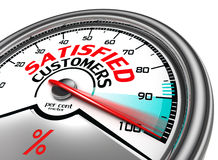 Tillfredsställd begreppsmässig meter för kunder Arkivfoton