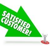 Tillfredsställd kundpil som pekar lycklig klienttillfredsställelse vektor illustrationer