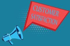 Tillfredsställelse för kund för ordhandstiltext Affärsidé för Exceed konsumentförväntan som tillfredsställs över service royaltyfri illustrationer