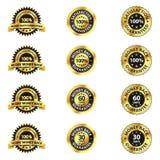 Tillfredsställelse garanterade emblem Stock Illustrationer