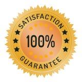 tillfredsställelsegarantistämpel som 100% isoleras på vit Arkivbilder