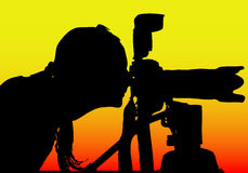 tillgänglig silhouette för fotograf för eps-formatflicka Fotografering för Bildbyråer
