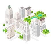 tillgänglig storstadsymbolsvektor Uppsättning av de isometriska vektorbeståndsdelarna Arkivbild