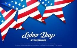 tillgänglig vektor för dagmapparbete Bakgrund USA för arbets- dag Baner med stjärnor av USA flaggan och typografi royaltyfri illustrationer