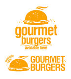 Tillgängliga gourmet- hamburgare undertecknar här. stock illustrationer
