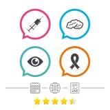 2 tillgängliga white för medicin för eps symboler isolerad set Injektionsspruta, öga, hjärna och band royaltyfri illustrationer