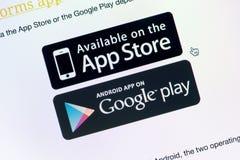 Tillgängligt på App Store och Google lek Royaltyfri Bild