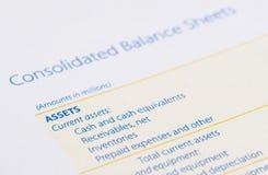 Tillgång på balansräkningen Arkivbild