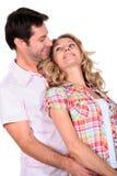Tillgivna par plattforde tillsammans Royaltyfria Foton