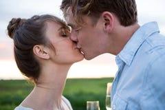 Tillgivna par som kysser i fält Arkivbilder