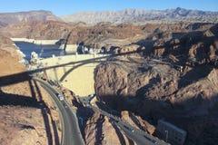 A Tillman Bridge Shadow Cast on Hoover Dam Stock Images