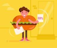 Tillskyndare i en hamburgaredräkt som ut räcker broschyrer vektor cartoon Isolerad konst på vit bakgrund plant royaltyfri illustrationer
