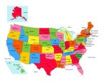 Tillstånd för USA 50 med tillståndsnamn Arkivfoto