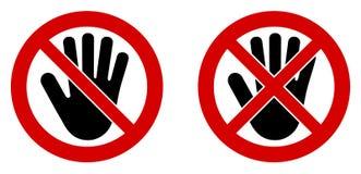 tillträde inget symbol Symbol för svart hand i korsat och doublecrossed beträffande royaltyfri illustrationer