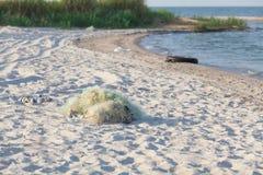 Tilltrasslade fisknät på stranden Royaltyfria Foton