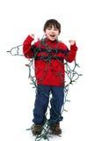 tilltrasslade jullampor Fotografering för Bildbyråer