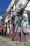 Tilltrasslade trådar i La Paz, Bolivia Fotografering för Bildbyråer