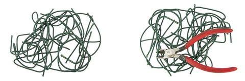 Tilltrasslade vridna collageskärare för elektrisk tråd Arkivbild
