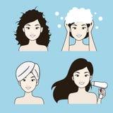 Tillvägagångssätthåromsorgen av den härliga kvinnan vektor illustrationer