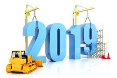 Tillväxt 2019, byggnad, förbättring i affär eller i allmänhet begrepp för år i året 2019, tolkning 3d Arkivbild