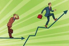 Tillväxt och blick för rinnande diagram för affärsmän framåtriktat royaltyfri illustrationer
