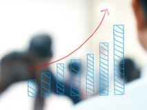 Tillväxtstångdiagram med suddigt affärsfolk Arkivfoton