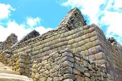 tillverkad stenhuggeriarbete på Machu Picchu, Peru Royaltyfri Fotografi