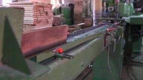 Tillverkning av durken, bearbeta för parkett stock video