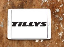 Tillys fashion brand logo. Logo of tillys fashion brand on samsung tablet. tillys is an American retail clothing company that sells a wide assortment of branded stock photos