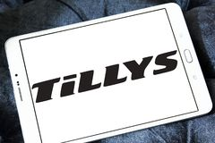 Tillys fashion brand logo. Logo of tillys fashion brand on samsung tablet. tillys is an American retail clothing company that sells a wide assortment of branded royalty free stock images