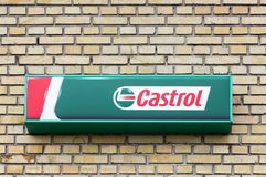 Castrol logo on a wall. Tilst, Denmark - May 10, 2018: Castrol logo on a wall. Castrol is a British global brand of industrial and automotive lubricants offering royalty free stock images