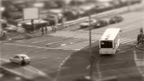 Tilt–shift cars in traffic, seen from above