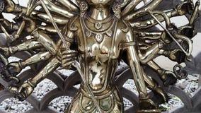 Tilt down shot of statue of the Goddess Durga, Agra, Uttar Pradesh, India stock video footage