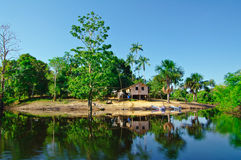 Tilt house on the Amazon river. Bank reflecting in the water Stock Images