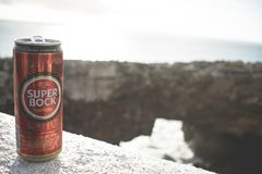Tilt Lens Photography of Super Bock Tin Can stock image
